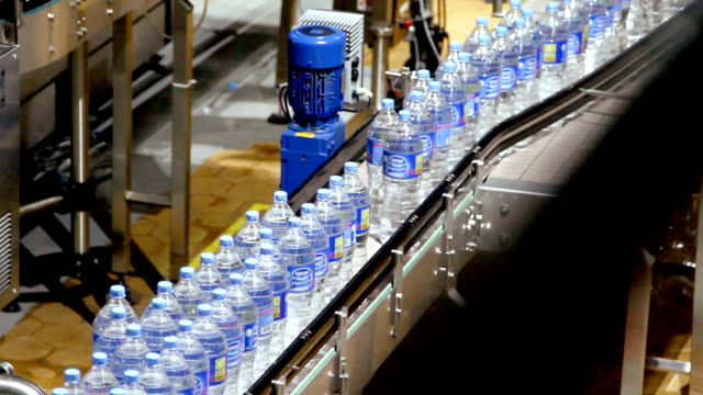 Water bottle conveyor industry video