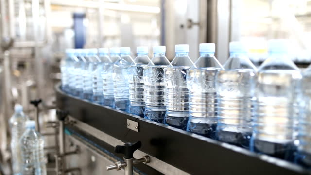 Water bottling factory video