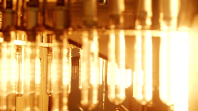 Water bottling line for processing in conveyor belt video