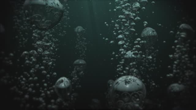 저수시설 비눗방울 01 어둡습니다 배경기술 반복 - 불길한 스톡 비디오 및 b-롤 화면