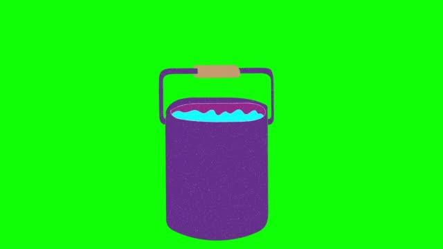 wasser-eimer handgezeichneten grünen bildschirm. floating loop-animation - eimer stock-videos und b-roll-filmmaterial