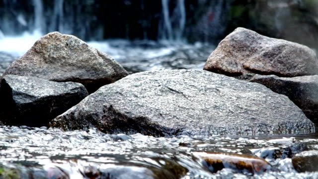 Water cascading over a rock in a stream