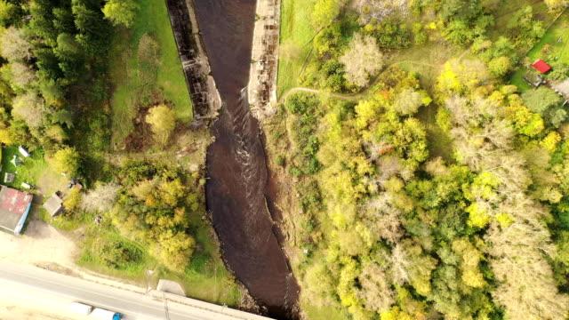 Water Dam aerial. Water artificial dam aerial shot.