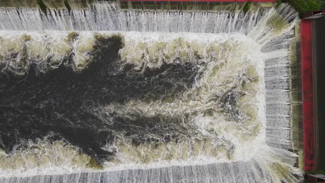 Water drainage reservoir during the rainy season