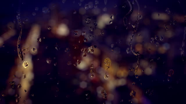 Water Dripping on Glass in Night City Background video