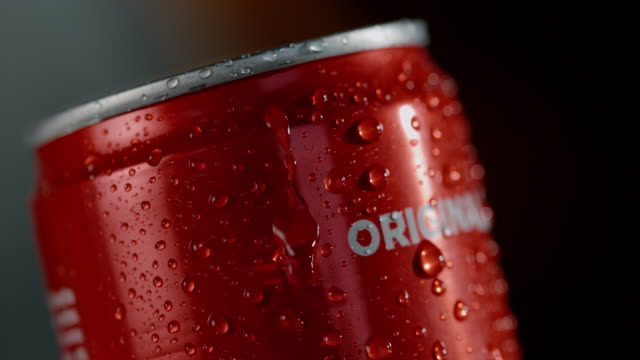 SLO MO Water droplets on the outside of a soda can