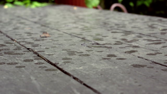 Water drops from rain landing on patio deck during spring in daytime