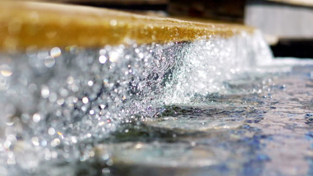 Water drops in fountain in slow motion 180fps