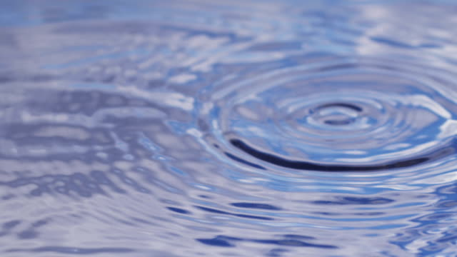 Water drops in slow motion, reflection of blue sunny sky video