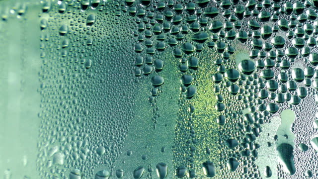 Water drops on the glass. Water drops on the glass. Close-up. Static shot. condensation stock videos & royalty-free footage