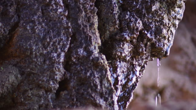 Water drops sliding through a rock in an aquatic cave Water drops sliding through a rock in an aquatic cave colloid stock videos & royalty-free footage