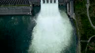 istock water flow, waterfall draining water from the dam, due to the overflow of the reservoir. electric power industry, a powerful dam in siberia krasnoyarsk russia divnogorsk aerial drone video. 1323276366