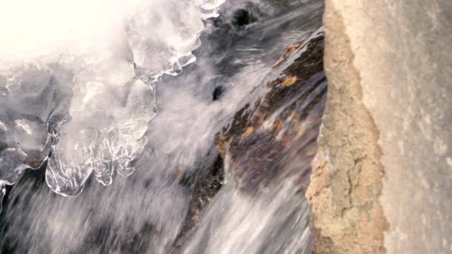 Water Flowing and Ice in Winter video