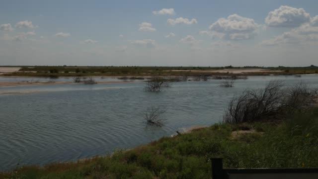 vidéos et rushes de eau s'écoulant dans un lac dans une plaine de sel - lac salé