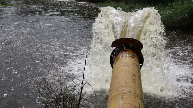 Water flowing from a large pipe. video