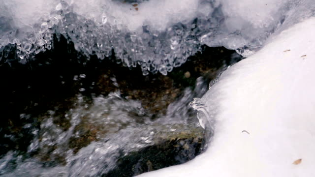 Water Flowing Ice and Snow in Winter in Slow Motion video
