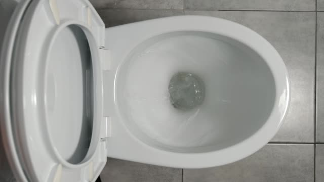 slow motion: water flows in a white toilet - bagno domestico video stock e b–roll