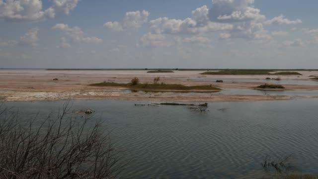 vidéos et rushes de l'eau s'écoule sur le côté d'une plaine de sel - lac salé