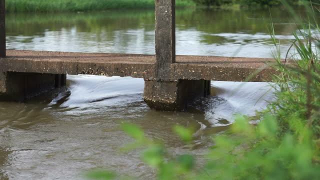 Water flows through the weir. video