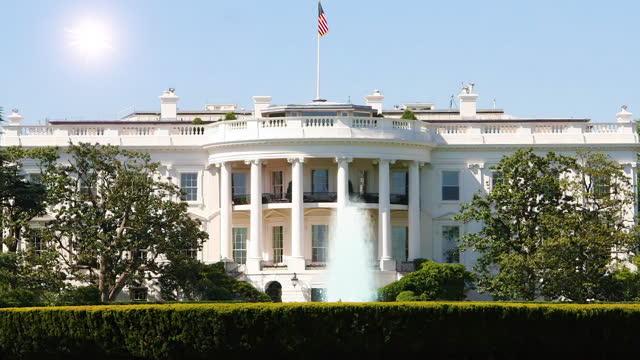 фонтан перед белым домом в вашингтоне, .c сша. - бесшовные петли - white house стоковые видео и кадры b-roll