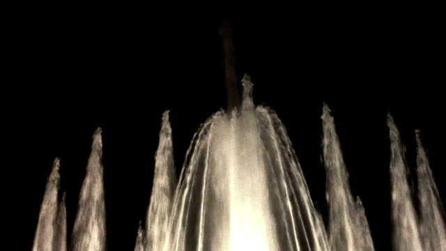 Water fountain Water fountain  on a black background fountains stock videos & royalty-free footage
