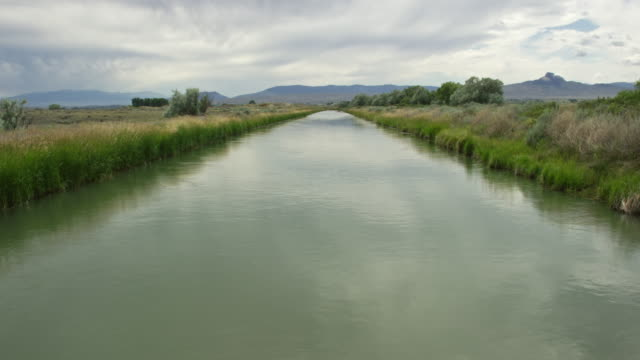 Water Gently Flows down the Cody Canal Lined with Grasses in Cody, Wyoming under an Overcast Sky Water Gently Flows down the Cody Canal Lined with Grasses in Cody, Wyoming under an Overcast Sky aqueduct stock videos & royalty-free footage