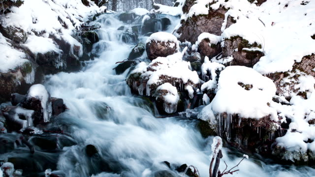 Water in frozen stream. Snowy river in forest in the winter. Long exposure video