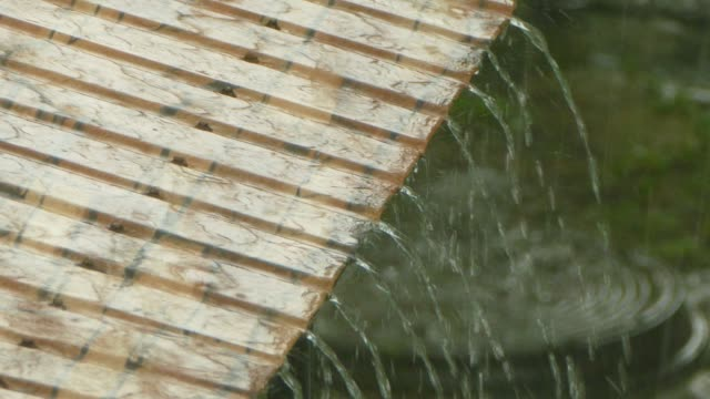 Water is pouring from the roof in the rain video