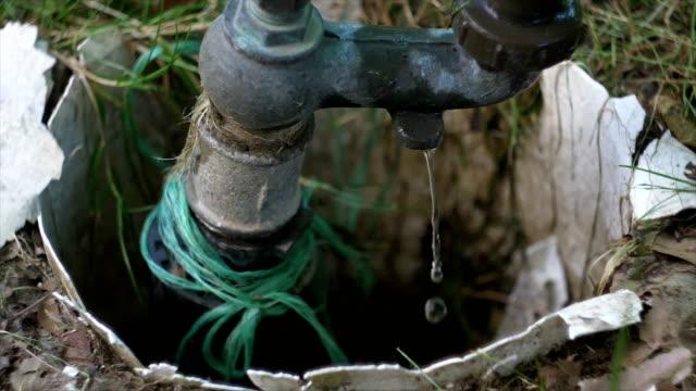vídeos y material grabado en eventos de stock de fuga de agua de la tubería en el bosque, cámara lenta - tubería
