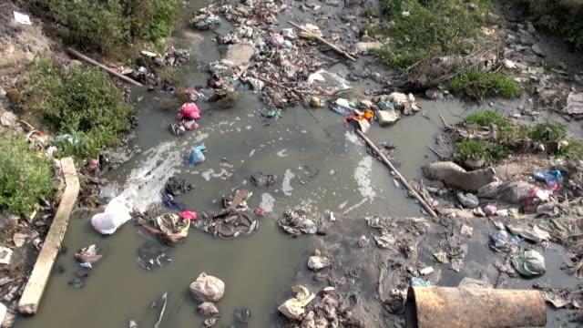 Water pollution in Nepal. Kathmandu sacred river Bagmati video