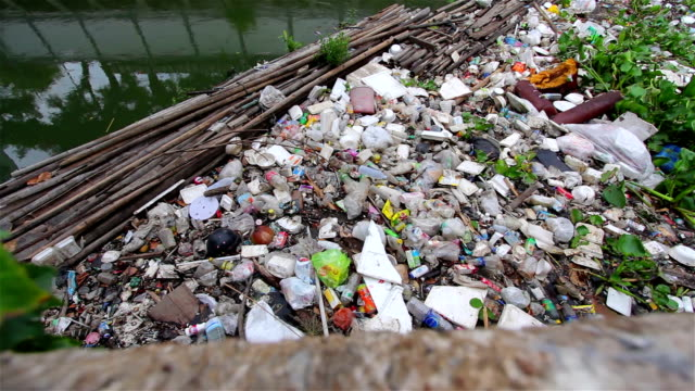 water pollution in river of Bangkok, Thailand.Dolly shot. video