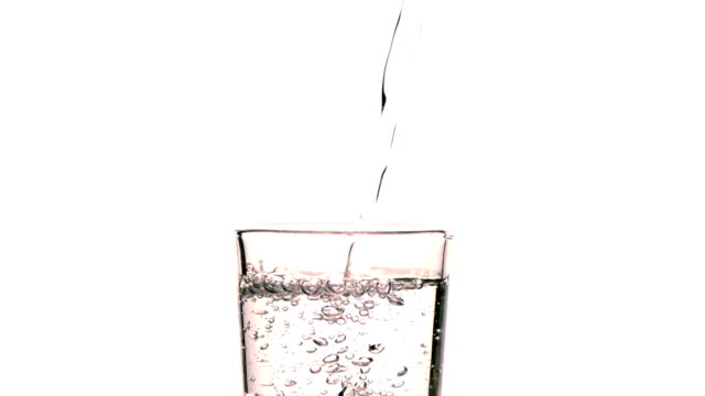 Water pouring into glass on white background video