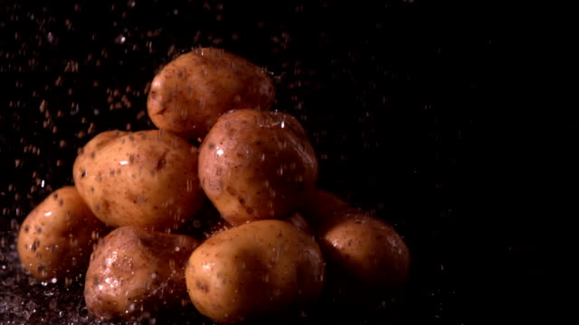 Water raining on pile of potatoes video
