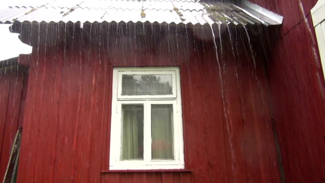 Water running from the roof Water running from roof during summer storm drenched stock videos & royalty-free footage