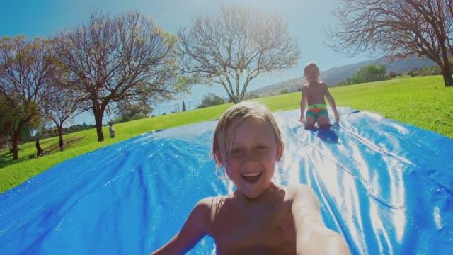POV water slide racing video