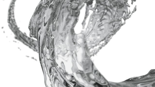 water splash circle liquid looping on white background with reflections and spinning flow, liquid surface from crystal nature water. super slow motion, rapid, seamless loop, 3d render. - chlapać filmów i materiałów b-roll