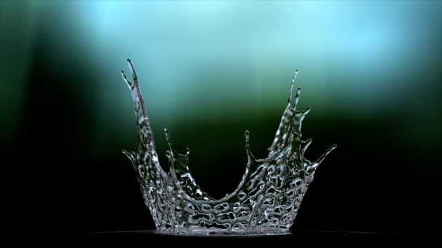 Water splash from bottom in Slow motion whit alpha video