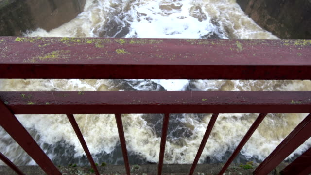 Water splash in river lake dam after rains video