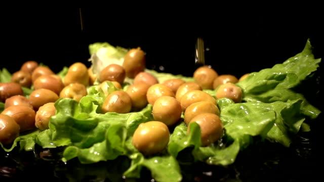Water Splash On Green Olives video
