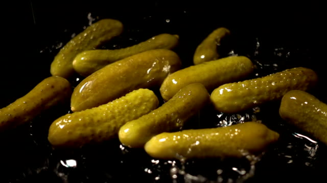Water Splash On Pickled cucumbers