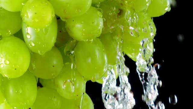 Water splashing on fresh ripe green Sultana grapes in slow motion video