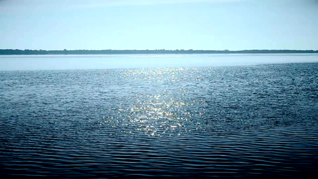 Water surface in a river or lake sparkling in sun video