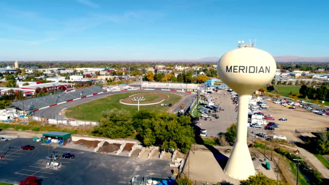 Water tower in Meridian Idaho and car race track video
