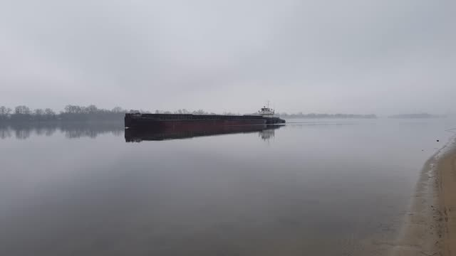 Water transport. Barge floating on the river. Cargo ship video