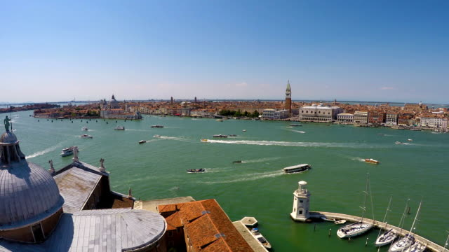Water transport moving on Grand Canal in Venice, view from top of church video
