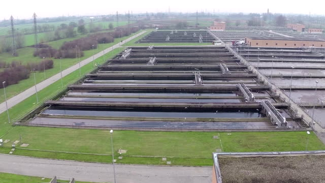 Water treatment plant (aerial video) video