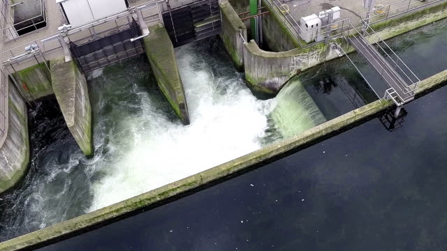 Water treatment waterfall (aerial drone video) video