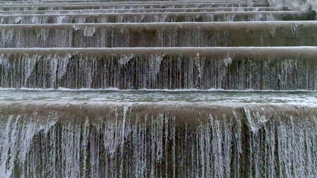 Water waterfalls on ladder front view from slow flight drone