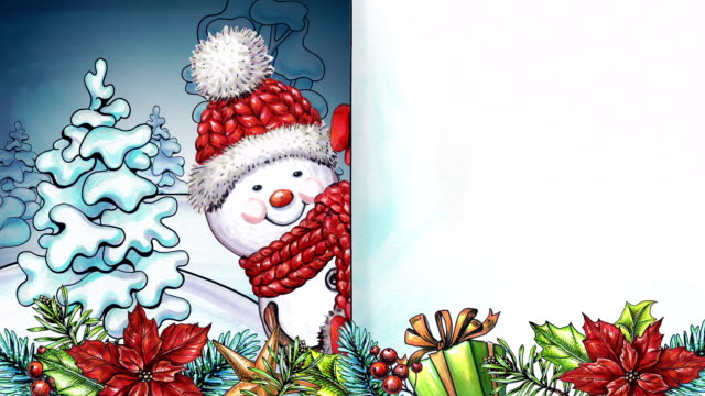 watercolor animated cartoon snowman, happy holidays greeting card, winter landscape, festive garland and ornaments - happy holidays stock videos & royalty-free footage