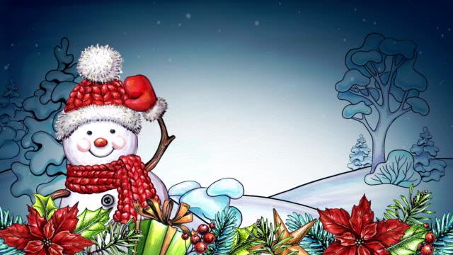 vídeos y material grabado en eventos de stock de muñeco de nieve de acuarela de dibujos animados, tarjeta de felicitación feliz navidad, paisaje de invierno, guirnalda festiva y ornamentos - happy holidays